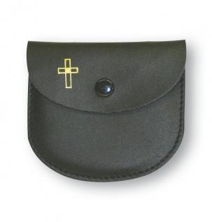 Rosenkranz Etui Leder schwarz Kreuz Kommunion Schmucketui Tasche