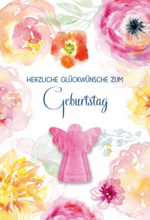 Glückwunschkarte Geburtstag Glas-Magnet Engel 5 St Kuvert Blumen Lebensweg