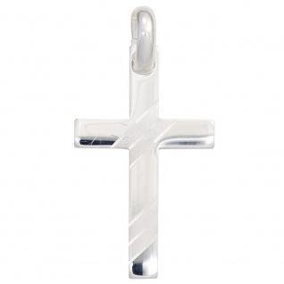 Schmuck Kreuz Anhänger 925 Silber rhodiniert teilmattiert Schmuckkreuz
