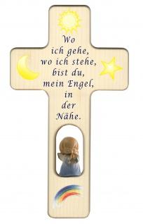 Kreuz für Kinder Schutzengel Gebet Baby Engel blau 20 Kruzifix Holz-Kreuz