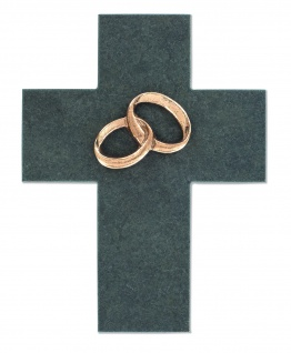 Wandkreuz Hochzeit Ehekreuz Schiefer Eheringe Bronze Kreuz 17 cm
