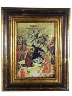 Ikone Geburt Christi 18 x 22 cm Griechenland Leinwand Holzrahmen vergoldet