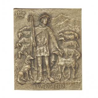 Namenstag Wendelin 13 x 10 cm Namenspatron Bronzerelief Wandbild Schutzpatron