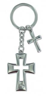 Schlüsselanhänger 2 Kreuze Metall mit Glasstein Christlich