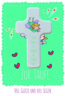 Taufkarte Engel zur Taufe viel Glück und viel Segen Set Glückwunschkarte Kuvert
