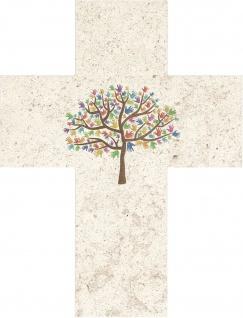 Wandkreuz Lebensbaum Kruzifix 17 cm Naturstein Kreuz Geschenkverpackung