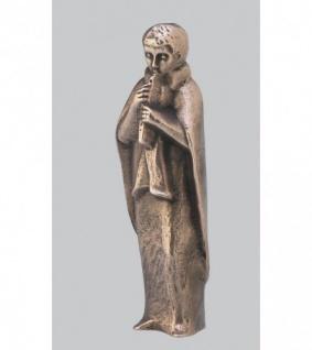 Krippenfigur Hirte mit Flöte 20 cm, Bronze