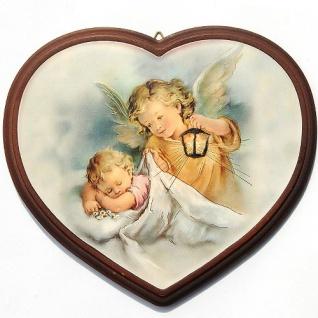 Schutzengel Bild Herz Engel bewacht das schlafende Baby 16 x 13 cm