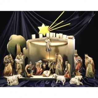 Karlkrippe mit Stall 16 Teile Holzfigur geschnitzt Südtirol Weihnachtskrippe