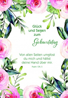 Glückwunschkarte Geburtstag Stickerbogen 6 St Kuvert Bibelwort Segen Jahreszahl