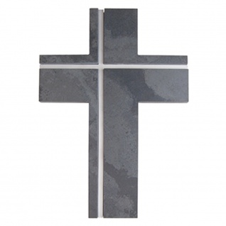 Wandkreuz Schiefer Edelstahl Inlays Kreuz 22 cm Kruzifix Christlich