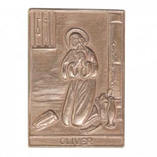 Namenstag Oliver 8 x 6 cm Bronzeplakette Bronzerelief Wandbild Schutzpatron