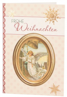 Glückwunschkarte Frohe Weihnachten (6 St) Engel und Glocke Grußkarte Kuvert