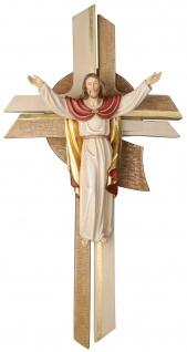Kreuz Besinnlicher Auferstehungschristus Holz Kruzifix geschnitzt Südtirol