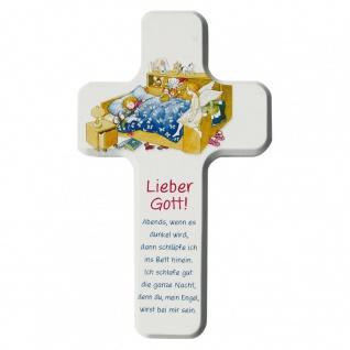 Kinderkreuz Buche weiß Gute-Nacht-Gebet 18 cm Wandkreuz Holzkreuz Lieber Engel..