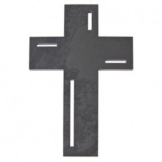 Wandkreuz Schiefer Kreuz Einschnitte 23 cm modern Kruzifix Christlich