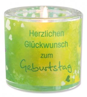 Glaswindlicht Glückwunsch Teelicht Kerzenhalter Geschenkbox Glas für Windlicht