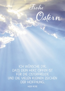 Postkarte Frohe Ostern (10 St) Sonnenstrahlen zwischen Wolken Heidi Rose