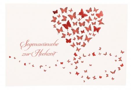 Glückwunschkarte Segenswünsche zur Hochzeit (6 St) Herz und Schmetterlinge