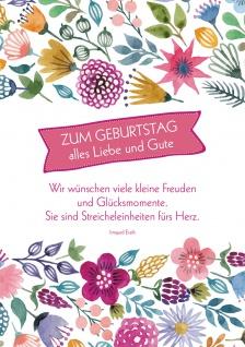 Postkarte Geburtstag Blumen 10 St Adressfeld Freude Glück Herz Streicheleinheit