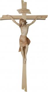 Kruzifix Besinnlicher Corpus mit einfachem Kreuz Holz geschnitzt Südtirol