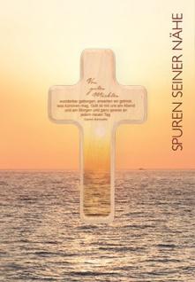 Kommunionkarte Von guten Mächten Holzkreuz Erstkommunion Glückwunschkarte