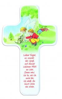 Kinderkreuz Buchenholz weiß farbig bedruckt Schutzengel 18cm Wandkreuz Kommunion