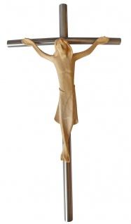 Wandkreuz Edelstahl Kreuz 30 x16 cm Holz Korpus Kruzifix Stahlkreuz Christlich