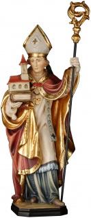 Heiliger Ludger mit Kirche Holzfigur geschnitzt Südtirol Schutzpatron Bischof