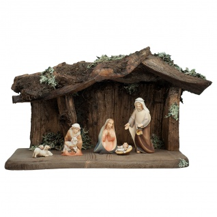 Komet Krippe Set 8 Teile Holzfigur geschnitzt Südtirol Weihnachtskrippe