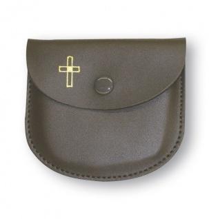 Rosenkranz Etui Leder braun Kreuz 8 cm Kommunion Schmucketui Tasche