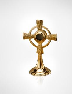 Reliquiar Kreuz Messing massiv, Höhe 24 cm, Kapsel Ø 4 cm Christliches Kultgefäß