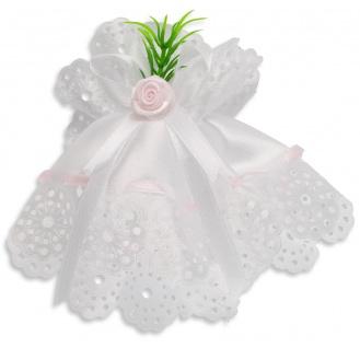 Kerzenmanschette Satin Stoff Rosa Weiß 11 cm Tropfschutz für Taufkerze Mädchen