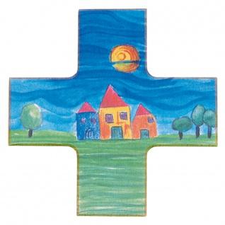 Kinderkreuz Haussegen Kreuzform Buchenholz bunt 12 x 12 cm Wandkreuz Kunstdruck