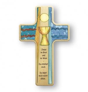 Kreuz für Kinder Kelch Abendmahl 11 cm Kruzifix Holz-Kreuz Wandkreuz