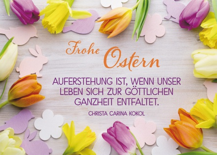 Postkarte Frohe Ostern (10 St) Tulpen und Narzissen Christa Karina Kokol