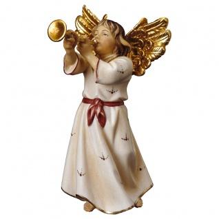 Engel mit Trompete Holzfigur geschnitzt Südtirol Engelfigur