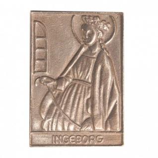 Namenstag Ingeborg 8 x 6 cm Bronzeplakette Bronzerelief Wandbild Schutzpatron
