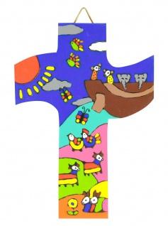 Kinderkreuz Arche Noah Naturholz El Salvador 12 cm handbemalt Wandkreuz Kreuz