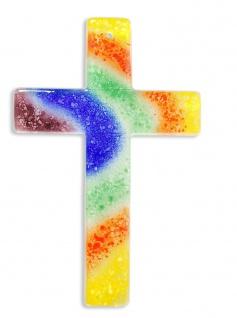 Glaskreuz Regenbogen Handarbeit 20 cm Kreuz aus Glas