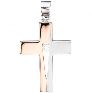 Schmuck Kreuz Anhänger Zirkonia 925 Silber rotgold vergoldet Schmuckkreuz