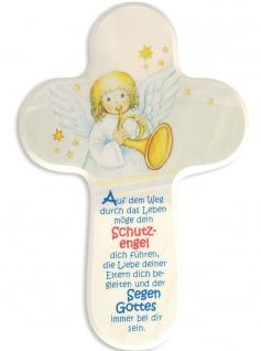 Kreuz für Kinder Schutzengel-Gebet 15 cm Kruzifix Holz-Kreuz Wandkreuz