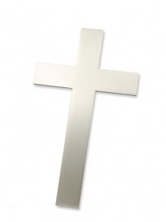 Wandkreuz Edelstahl schlicht mattiert Kreuz 15, 5 cm Handarbeit modern Stahlkreuz