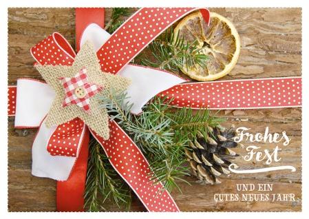 Postkarte Frohes Fest Neues Jahr (10 Stck) Grußkarten Weihnachtskarte Adressfeld