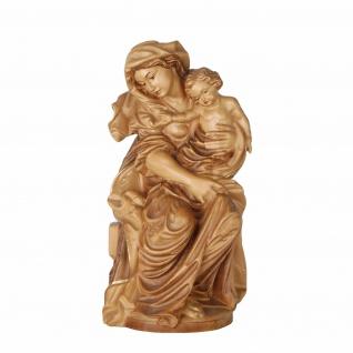 Mutter Gottes sitzend barock Holz, geschnitzt gebeizt Südtiroler Schnitzkunst