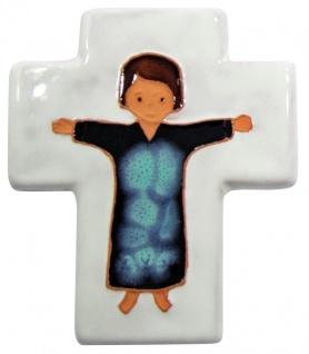 Kinderkreuz Taufe Kreuz Keramik weiß 10, 5 x 8 cm Wandkreuz Taufgeschenk