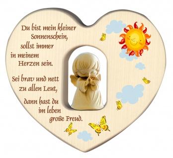 Herz mit Schutzengel Segen Gebet Holz geschnitzt 12 cm Kinderzimmer