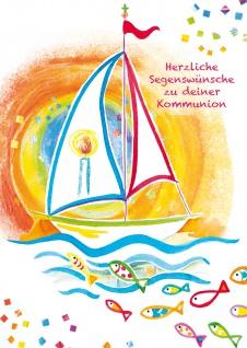 Glückwunschkarte Segelboot und Fische Segenswünsche zu deiner Kommunion 6 Stück