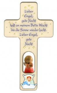 Kinderkreuz Gute-Nacht Gebet Schutzengel, rot Holz Kreuz geschnitzt 20 cm