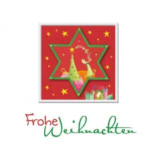 Weihnachtskarte Stern Frohe Weihnachten (3 Stck) Prägemotiv Kuvert Grußkarte